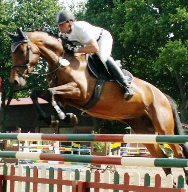Gerold Gögele auf seinem Pferd Zara-Lucie beim Reitturnier des RC Hagen am 17.08.2012.